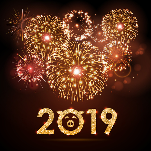 2019 new year background with bueautiful fireword vectors 01