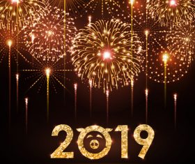 2019 new year background with bueautiful fireword vectors 02