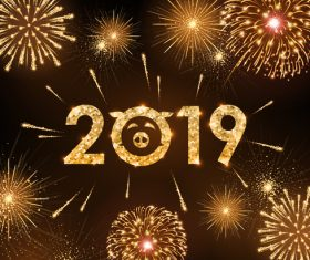 2019 new year background with bueautiful fireword vectors 03