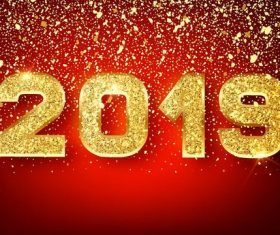 2019 new year background with golden confetti vectors