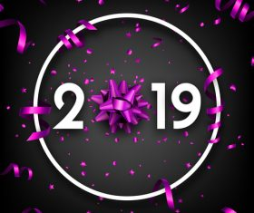 2019 new year background with purple confetti vector