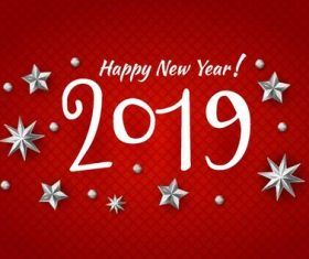 2019 new year design red background vector