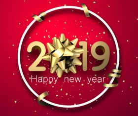 2019 new year red background with golden decor vector