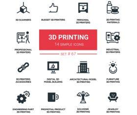 3D printing icons vectors