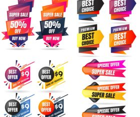3D special offer labels design vector 02