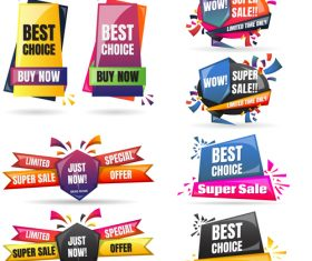 3D special offer labels design vector 05