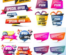 3D special offer labels design vector 06