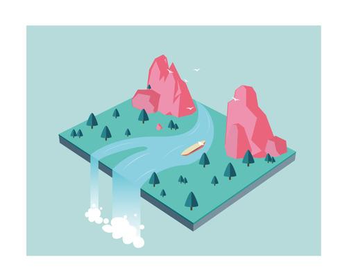 3D stereo drifting waterfall vector