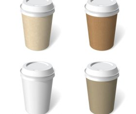4 Kind coffee paper cup template vectors material