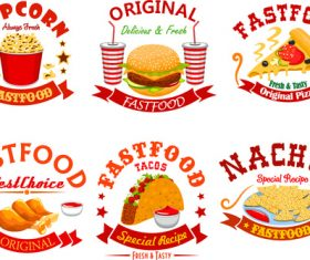 6 creative food label vector material