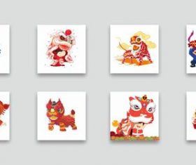 8 new year characters lion dance cartoon elements vector