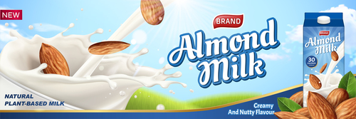 Almond milk advertising poster vector 01