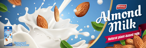 Almond milk advertising poster vector 02