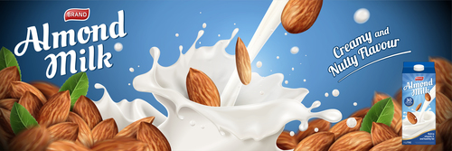 Almond milk advertising poster vector 03