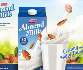 Almond milk advertising poster vector 04