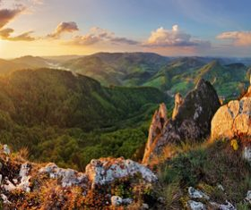 Amazing nature mountain sunrise Stock Photo 01