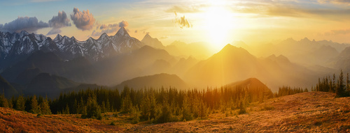 Amazing nature mountain sunrise Stock Photo 02