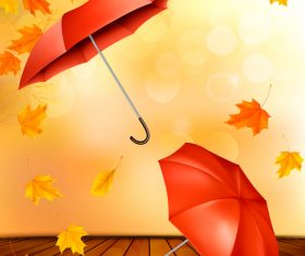 Autumn background with color leaves and two umbrellas vector