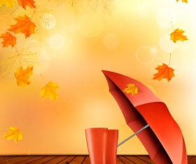 Autumn background with color leaves and umbrella and rubber vector