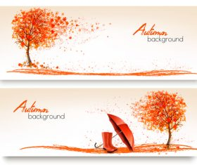 Autumn banners with colorful trees and umbrella vector