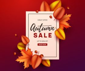 Autumn great offer sale poster template vector 01