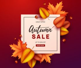 Autumn great offer sale poster template vector 02