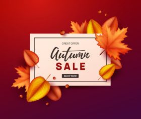 Autumn great offer sale poster template vector 04