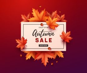 Autumn great offer sale poster template vector 05
