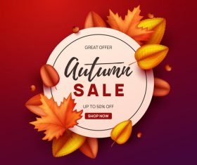 Autumn great offer sale poster template vector 06