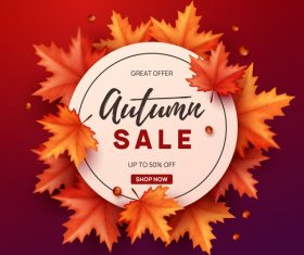 Autumn great offer sale poster template vector 07