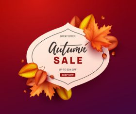 Autumn great offer sale poster template vector 09