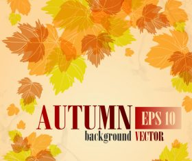 Autumn leaves with autumn background design vector 02