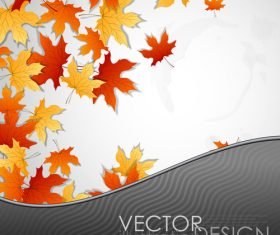 Autumn leaves with wavy background vector