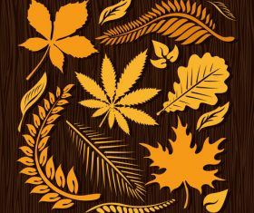 Autumn leaves with wood texture background vector