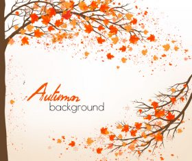 Autumn nature background with colorful leaves and two trees vector