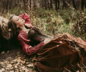 Autumn outdoor retro woman Stock Photo 02