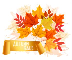 Autumn sale background with colorful leaves and gold ribbon vector