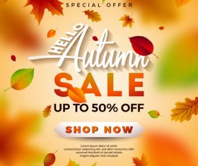 Autumn sale discount poster vectors 01