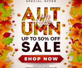 Autumn sale discount poster vectors 02