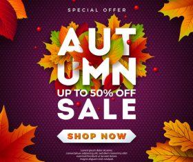 Autumn sale discount poster vectors 03