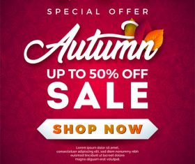 Autumn sale discount poster vectors 04