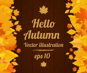 Autumn vector poster with wood background