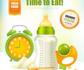 Baby bottle milk poster vector