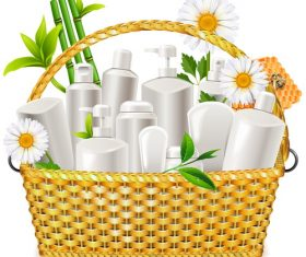 Basket with Natural Cosmetic vector material