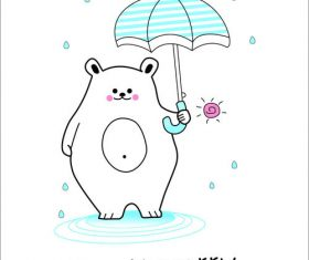 Bear hold up an umbrella vector