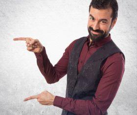 Bearded Man gesture Stock Photo 01