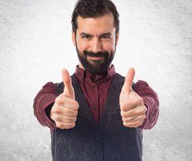 Bearded Man gesture Stock Photo 02