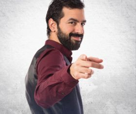 Bearded Man gesture Stock Photo 03
