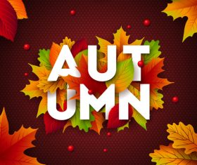 Beautiful autumn background art vector 02