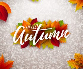 Beautiful autumn background art vector 03